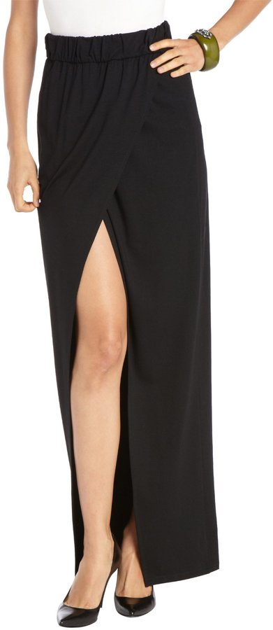 Rachel Zoe Black Strech Jersey Knit Long Wrap Skirt | Where to buy ...