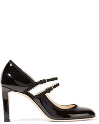 Jimmy Choo Micha Cutout Suede Trimmed Patent Leather Pumps Black