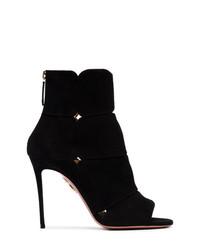 Aquazzura Black Lucrezia 105 Suede Ankle Boots