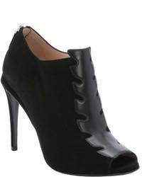 Fendi Black Suede Rear Zip Open Toe Ankle Booties