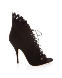 Emporio Armani Suede Cutout High Heel Boots