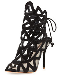 Mila suede cutout peep toe bootie black medium 647888