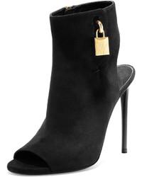 Open toe suede ankle lock bootie black medium 348246