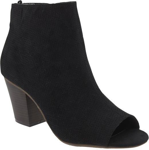 black toeless ankle boots