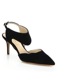 Black Cutout Suede Heeled Sandals
