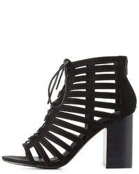 Charlotte Russe Caged Laser Cut Lace Up Sandals
