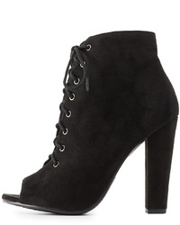 Charlotte Russe Lace Up Peep Toe Booties