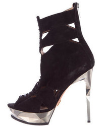 Herve Leger Lace Up Platform Ankle Boots