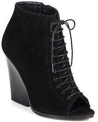 Burberry Prorsum Virginia Suede Open Toe Ankle Boots