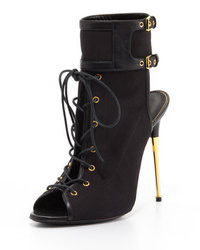Tom Ford Stretch Canvas Lace Up Bootie Black
