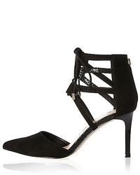 River Island Black Tie Up Pointed Court Heels