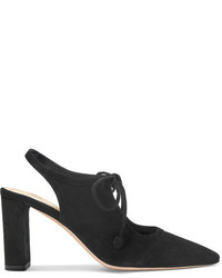 The Row Camil Cutout Suede Pumps Black