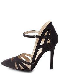 Qupid Cut Out Pointed Toe Pumps
