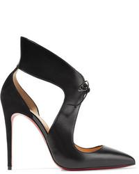 Ferme rouge cutout leather and suede pumps black medium 1139845