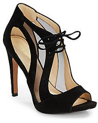 Nine West Motous Cutout Mesh Suede Peep Toe Pumps