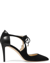 Vanessa 85 cutout suede and leather pumps black medium 1196389