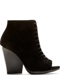 Prorsum black suede open toe ankle boots medium 87240