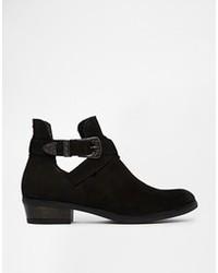 Carvela Selena Western Buckle Ankle Boots Black