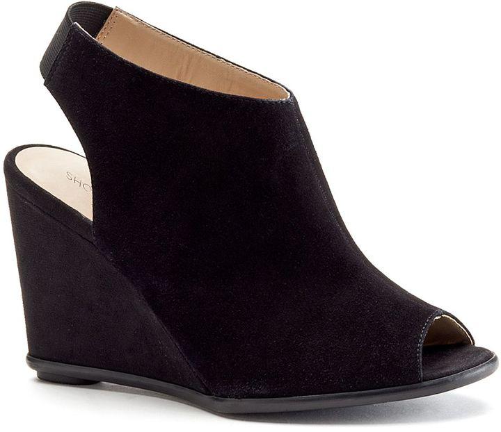 6e05b8265e58 ... Black Cutout Suede Wedge Ankle Boots Shoemint Nash Peep Toe Wedge Ankle  Booties ...