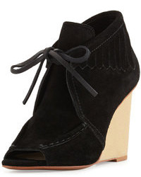 Derek Lam 10 Crosby Zared Suede Moccasin Wedge Bootie Black