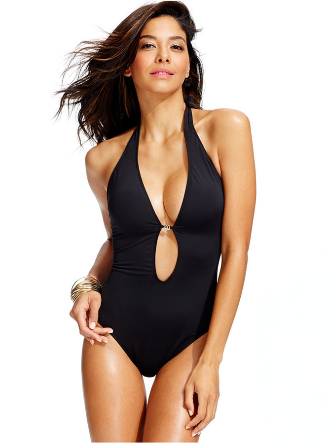 Bar III Deep V Neck One Piece Swimsuit