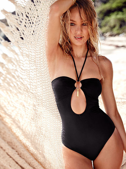 1425b1664e628 $78, Victoria's Secret Forever Sexy Cut Out Halter One Piece