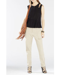 BCBGMAXAZRIA Alexys Cutout Shoulder Peplum Top