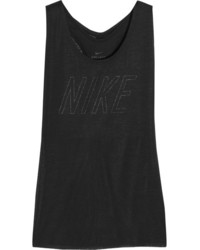 Nike Layered Cutout Dri Fit Stretch Jersey Tank Black