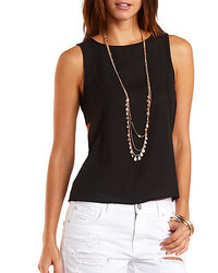 Charlotte Russe Side Cut Out Chiffon Tank Top