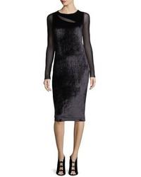 Fuzzi Long Sleeve Cutout Velvet Cocktail Sheath Dress