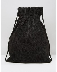 Weekday Pleat Detail Drawstring Backpack In Black