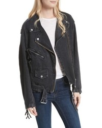 Free People Oversize Denim Moto Jacket