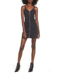 Topshop Sleeveless Front Zip Denim Dress