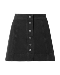 Black Denim Button Skirt