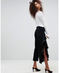 ASOS DESIGN Asos Straight Leg Jean With Cascading Ruffle Side In Clean Black