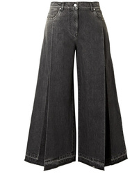 Valentino The Rockstud Cropped Pleated Wide Leg Jeans