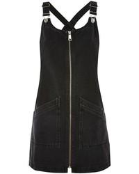 Topshop Moto Zip Front Denim Pinafore Dress
