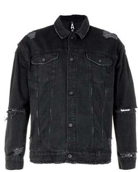Topman Aaa Black Distressed Oversized Denim Jacket