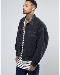 Asos Denim Jacket In Oversized Fit With Black Wash