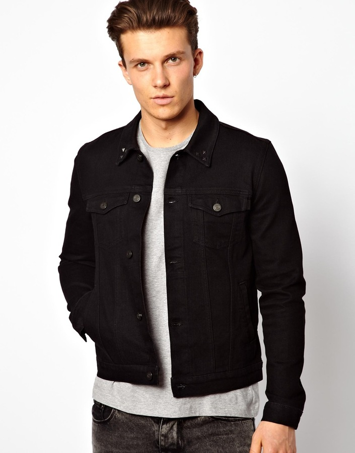 Asos Denim Jacket In Skinny Fit With Studded Collar | Where to buy ...