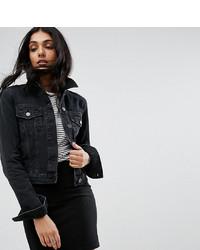 Asos Tall Asos Design Tall Denim Shrunken Jacket In Washed Black