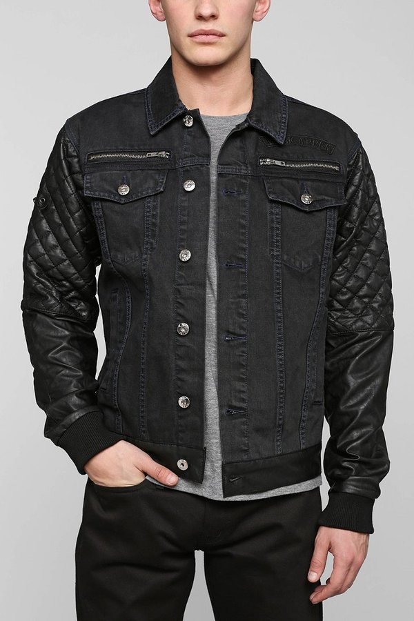 1db98a13590 ... Urban Outfitters Black Apple Bushwick Faux Leather Sleeve Denim Jacket  ...