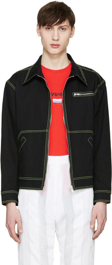 Gosha Rubchinskiy Black Contrast Denim Jacket   Where to buy & how ...