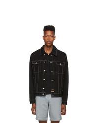 Kenzo Black Denim Back Embroidery Trucker Jacket