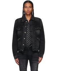 Amiri Black Denim Double Slanted Jacket
