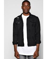 Boohoo Black Denim Jacket With Abrasions