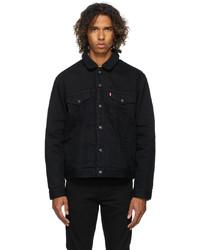 Levi's Black Denim Sherpa Trucker Jacket