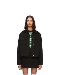 MSGM Black Denim Stamped Jacket