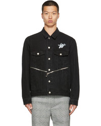 We11done Black Denim Wd Logo Jacket