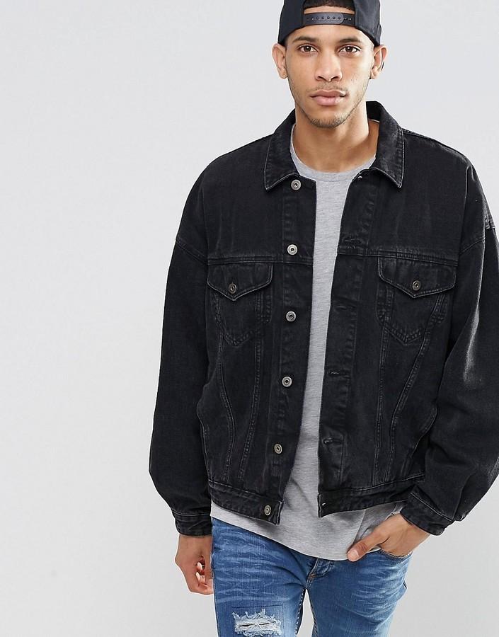 871bbe9af409 ... Asos Brand Denim Jacket In Oversized Fit With Black Wash ...